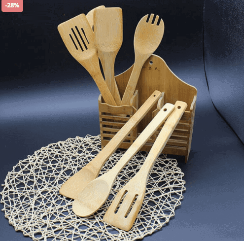 5 Piece Set Bamboo Utensils