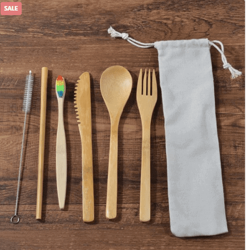 Eco-friendly Products: Bamboo Toothbrush Spoon Fork Straw Knife Set